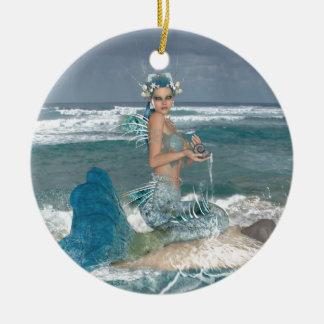 Mermaid on Rock Ceramic Ornament