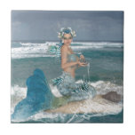 Mermaid on Rock Small Square Tile