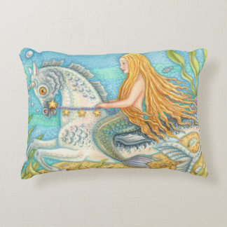 Mermaid On Seahorse Merhorse Unicorn Accent PILLOW