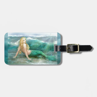 Mermaid on Shore with Aqua Waves and Seagulls Luggage Tag