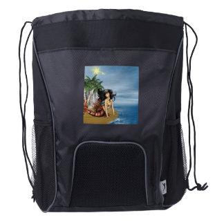 Mermaid on the Beach Drawstring Backpack