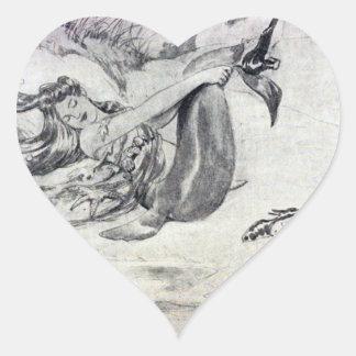 Mermaid on the Beach Heart Sticker