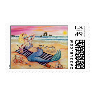 Mermaid on Vacation Postage Stamp