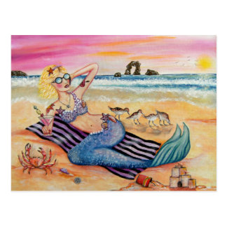 Mermaid on Vacation Postcard