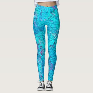Mermaid: Onahau, Blue Chill, Lilac, Cloud Burst Leggings