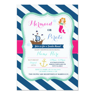 Mermaid Or Pirate Baby Shower Invitation