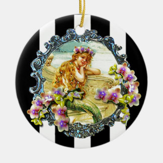 MERMAID ORCHID PRINTABLE.jpg Double-Sided Ceramic Round Christmas Ornament