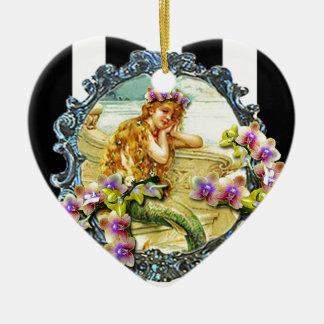 MERMAID ORCHID PRINTABLE.jpg Double-Sided Heart Ceramic Christmas Ornament