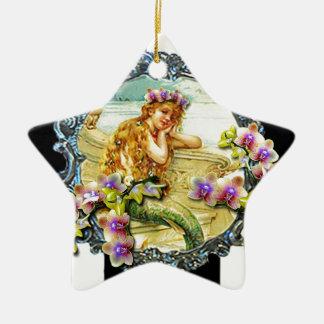 MERMAID ORCHID PRINTABLE.jpg Double-Sided Star Ceramic Christmas Ornament