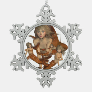 Mermaid Snowflake Pewter Christmas Ornament