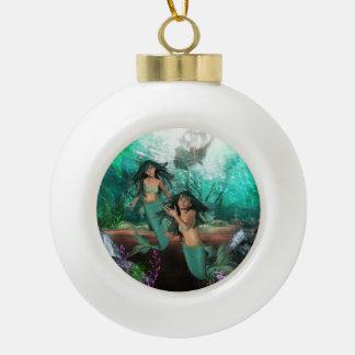 Mermaid Ceramic Ball Christmas Ornament