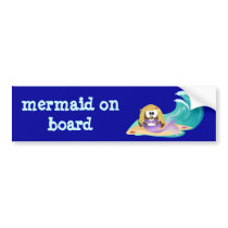 mermaid owl bumper sticker