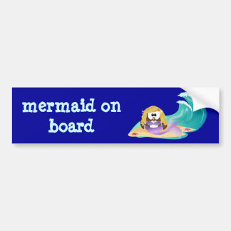 mermaid owl bumper sticker