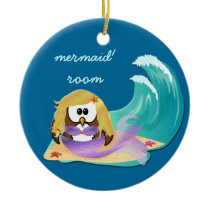 mermaid owl ceramic ornament