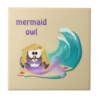 mermaid owl ceramic tile