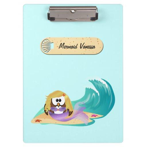 mermaid owl clipboard