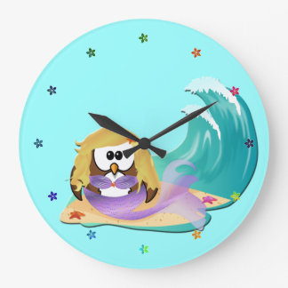 mermaid owl large clock
