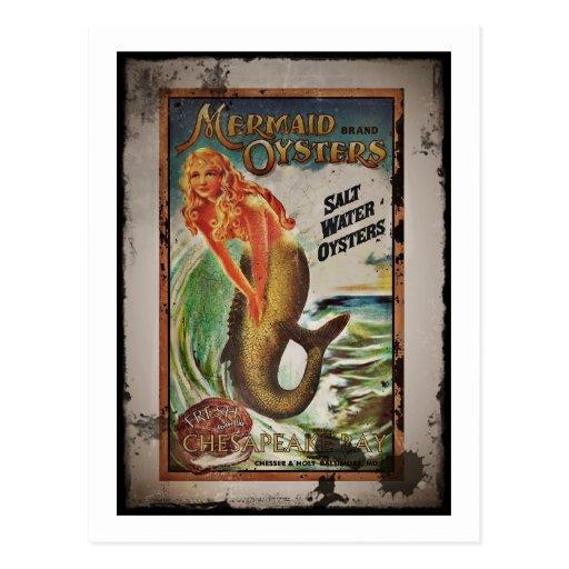 Mermaid Oyster Girl Post Card
