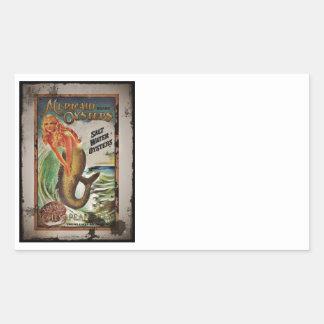 Mermaid Oyster Girl Rectangular Sticker