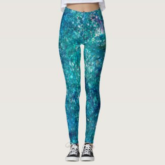 Mermaid: Paradiso, Bluestone, Malibu Morning Glory Leggings