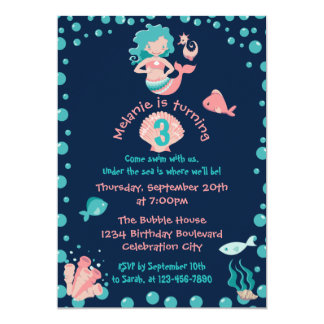 Mermaid Party | Girl's 3rd Birthday Party Card