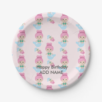 Mermaid Pattern Birthday Plate