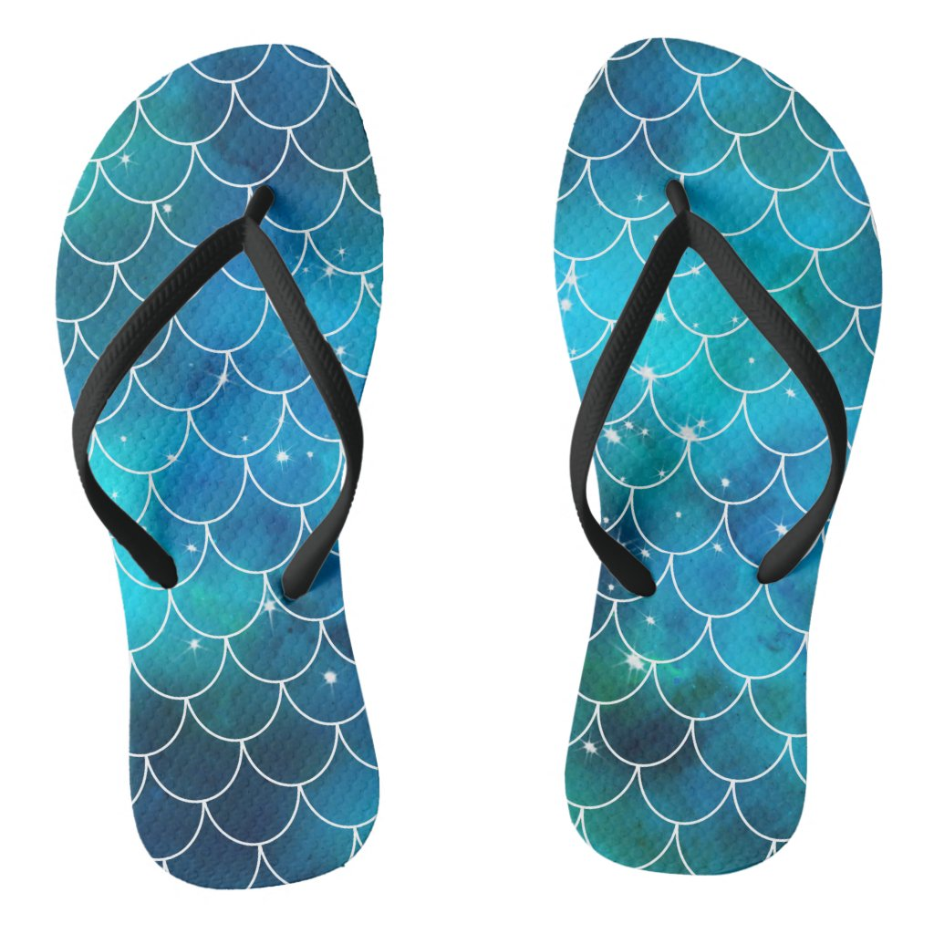 Mermaid Pattern Flip Flops
