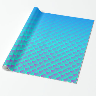 Mermaid Pattern In Aqua Blue and Purple Wrapping Paper