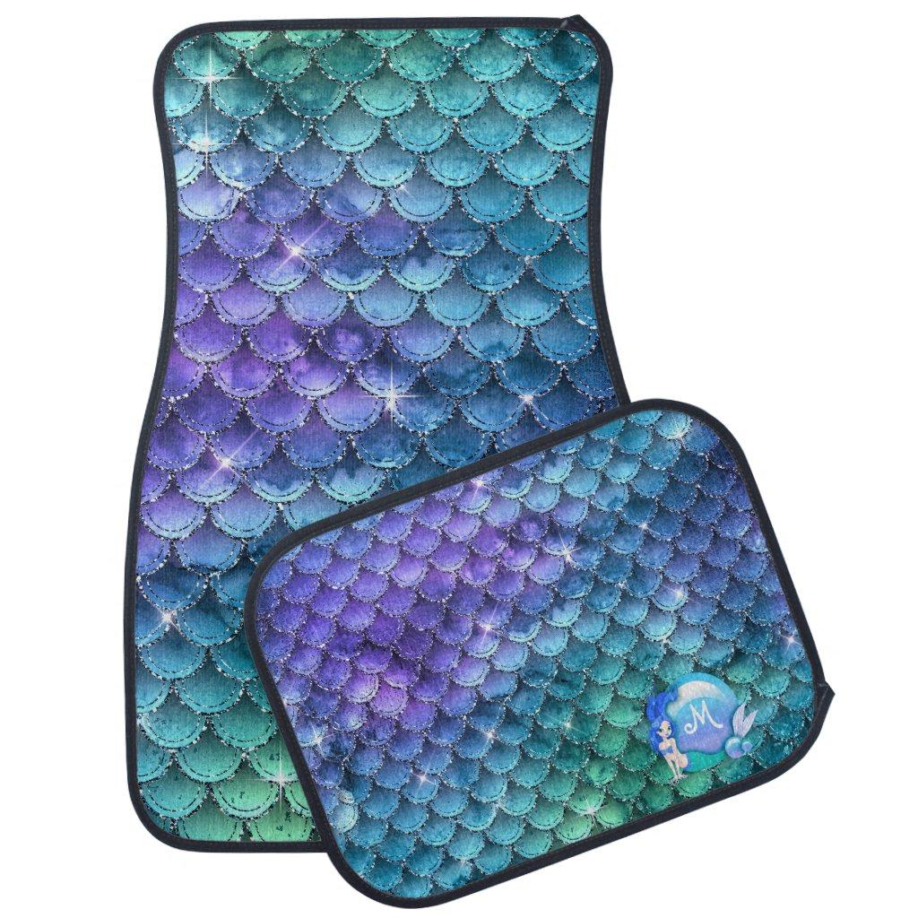 Mermaid Pearls and Scales Monogram Blue ID600 Car Floor Mat