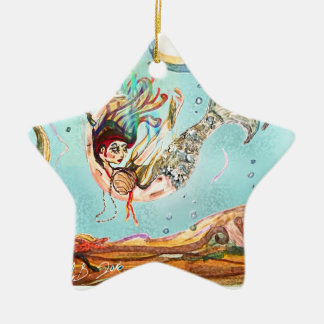 Mermaid Performs Ceramic Ornament
