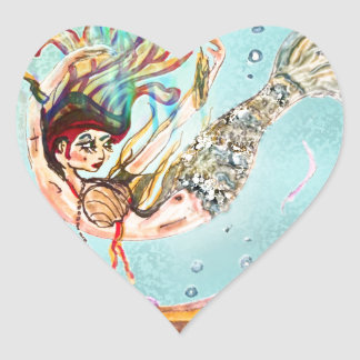 Mermaid Performs Heart Sticker