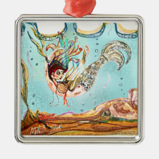 Mermaid Performs Metal Ornament