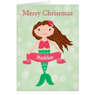 Mermaid Personalized Christmas Card