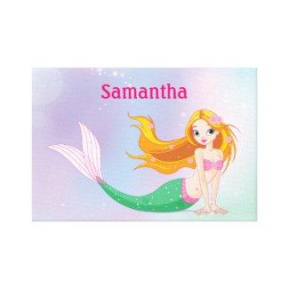 Mermaid Personalized Girls Canvas Wall Art zazzle_wrappedcanvas