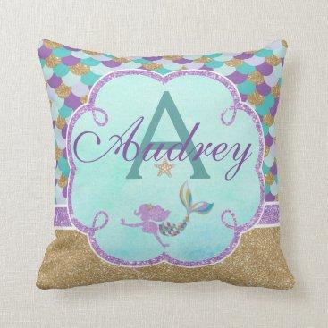 TiffsSweetDesigns Mermaid Personalized Monogram Pillow Name