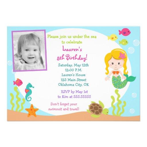 Mermaid Photo Birthday Party Invitation