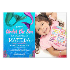 Mermaid Photo Under the Sea Pool Birthday Invitation