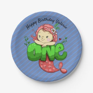 Mermaid Pink First Birthday Party Plate