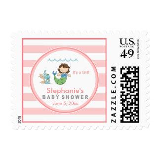 Mermaid Pink Girl Baby Shower Postage