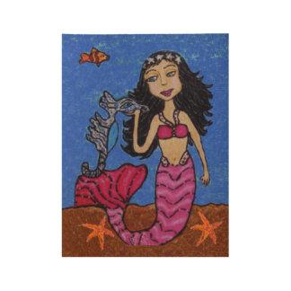 Mermaid Pink Tail Stars in Hair Blue Seahorse Fish Wood Poster
