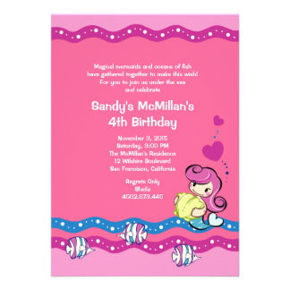 Mermaid - Pink Undersea Birthday Party Invitation
