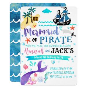 Mermaid Pirate Birthday Invitation Party Dual