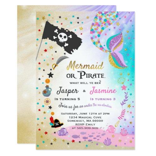 Mermaid Pirate Birthday Invitation Siblings Party