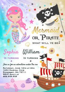 Pirate birthday invitations zazzle mermaid pirate birthday invitation siblings party filmwisefo