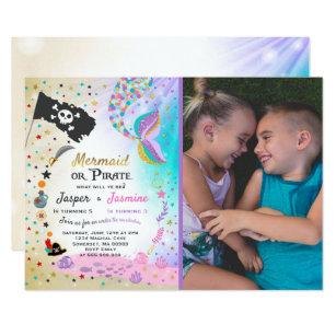 Sibling invitations zazzle mermaid pirate birthday invitation siblings party stopboris Image collections