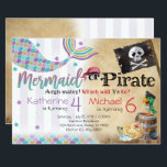 "Mermaid Pirate Birthday Party Invitation Siblings<br><div class=""desc"">Add the perfect touch to your little ones special day with this Birthday Invitation!</div>"