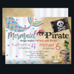 """Mermaid Pirate Birthday Party Invitation Siblings<br><div class=""""desc"""">Add the perfect touch to your little ones special day with this Birthday Invitation!</div>"""