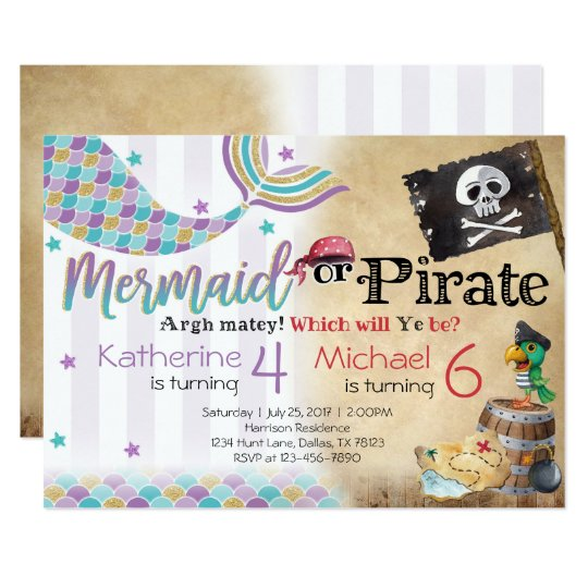 Mermaid pirate birthday party invitation siblings zazzle mermaid pirate birthday party invitation siblings stopboris Image collections