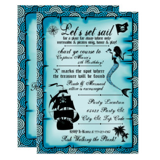 Mermaid, Pirate Party Invitations