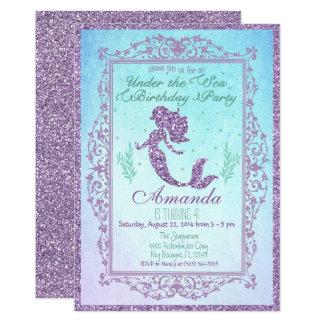Mermaid Pool Party Birthday Invitation 5 x 7